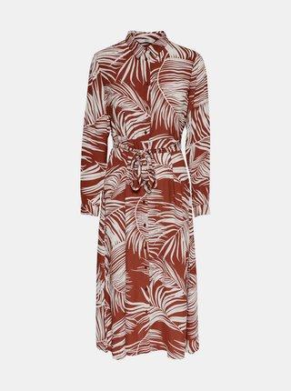 Tehlové vzorované košeľové šaty ONLY Augustina