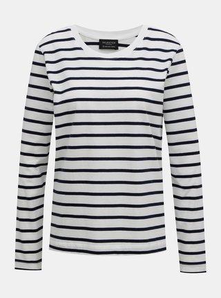 Bílo-modré pruhované tričko Selected Femme Standard