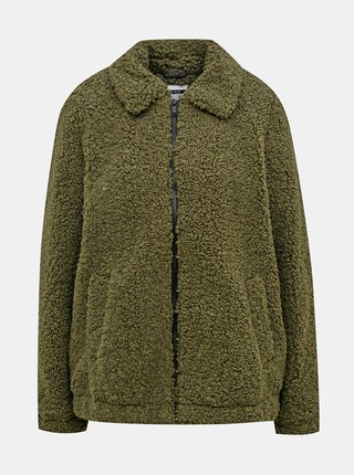 Zelená bunda s umelým kožúškom Noisy May Gabi
