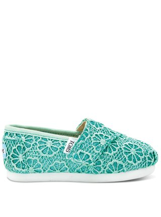 Toms dětské boty Tiny Classic/Mint Crochet Glitter