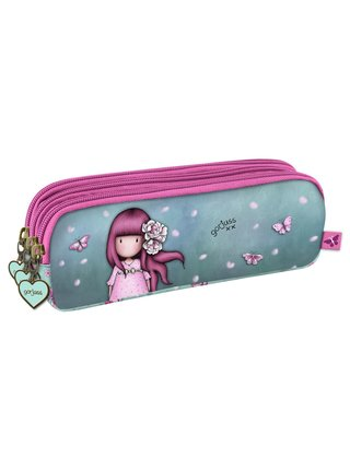 Santoro tyrkysovo-růžový penál Gorjuss Cherry Blossom