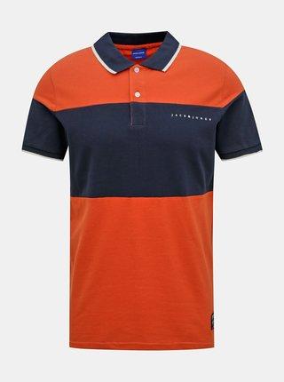 Modro-oranžové polo tričko Jack & Jones Pro