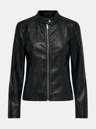 Čierna koženková bunda Jacqueline de Yong Stormy