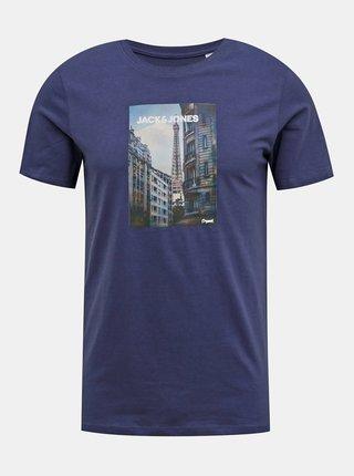 Modré tričko Jack & Jones Barista
