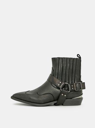 Černé kožené kotníkové boty Selected Femme Abigail