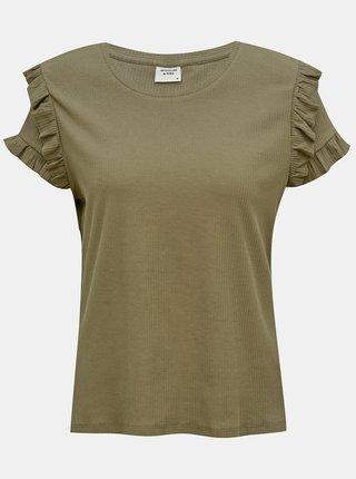 Khaki tričko s volány Jacqueline de Yong Fappa