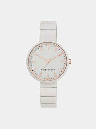 Dámske hodinky s bielym nerezovým remienkom Nine West