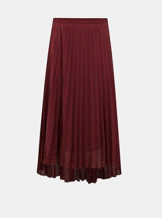 Vínová plisovaná midi sukně ONLY Paradise