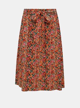 Růžovo-oranžová květovaná midi sukně ONLY Nova