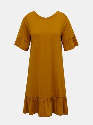 Hořčicové volné šaty VERO MODA Violetta
