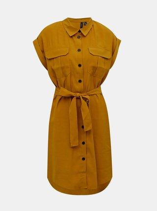 Hořčicové košilové šaty VERO MODA Venus