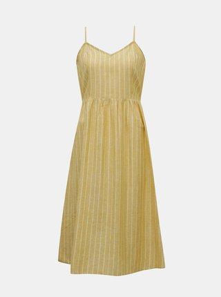 Žluté pruhované šaty s příměsí lnu ONLY Vivian