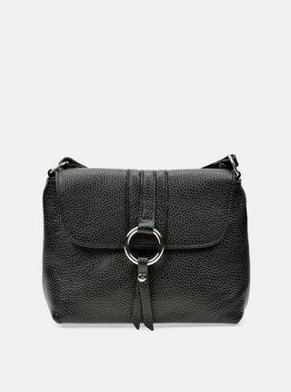 Černá kožená crossbody kabelka Anna Luchini
