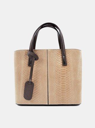 Béžová kožená kabelka s hadím vzorom Roberta M