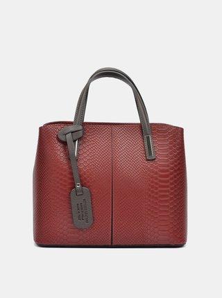 Vínová kožená kabelka s hadím vzorom Roberta M