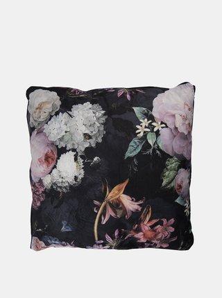 Černý květovaný polštář Clayre & Eef
