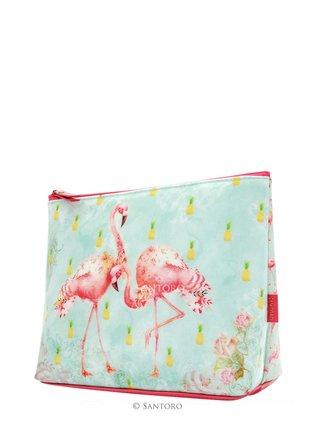 Santoro větší kosmetická taška Flamingos