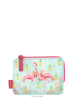 Santoro malá tyrkysová peněženka Flamingos
