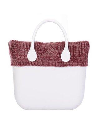 O bag bordový úpletový lem na tělo Standard Treccione Bordeaux/Rosa