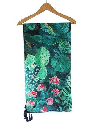 Disaster modro-zelený šátek Tropical Leaf Scarf