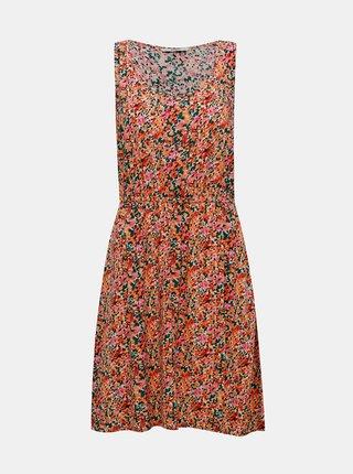 Ružovo-oranžové kvetované šaty ONLY Sara