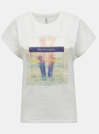 Biele tričko s potlačou ONLY Maya