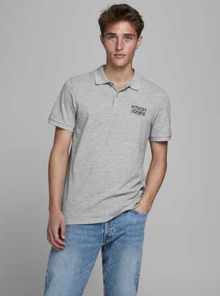 Šedé polo tričko Jack & Jones Hero
