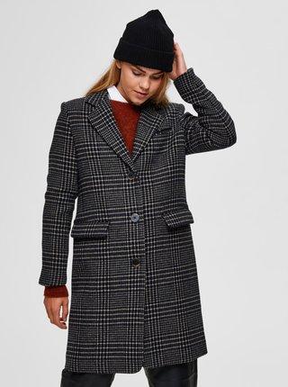 Černý kostkovaný vlněný kabát Selected Femme Elina