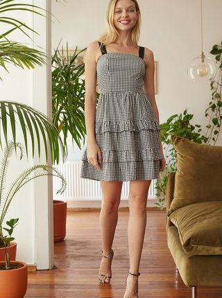 Šedé kockované šaty Trendyol