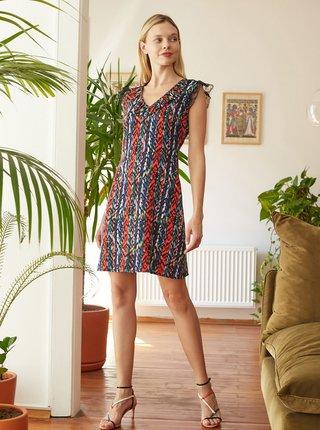 Červeno-modré vzorované šaty Trendyol
