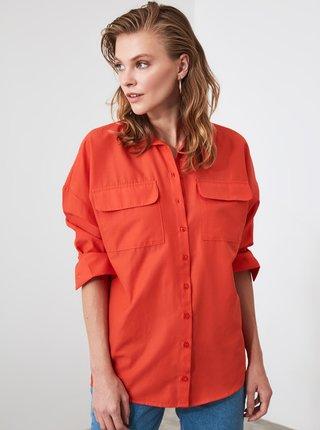 Červená voľná košeľa Trendyol