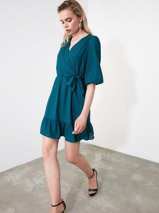 Petrolejové šaty s drobným vzorem Trendyol
