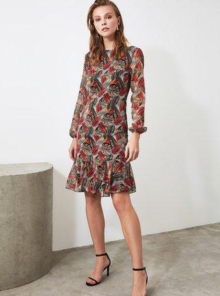Vínovo-hnedé vzorované šaty Trendyol