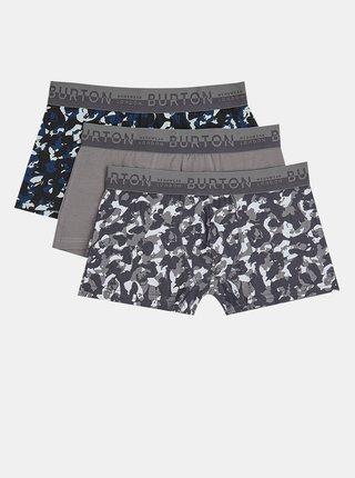 Sada tří šedých vzorovaných boxerek Burton Menswear London