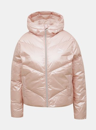 Růžová dámská prošívaná zimní bunda Puma