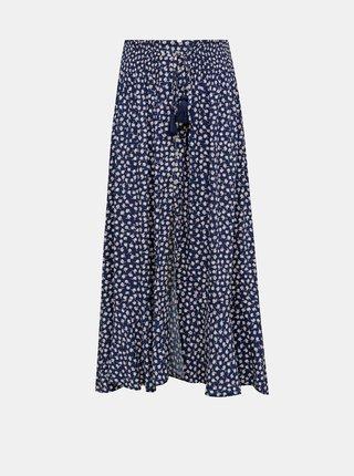 Tmavě modrá květovaná maxi sukně TALLY WEiJL