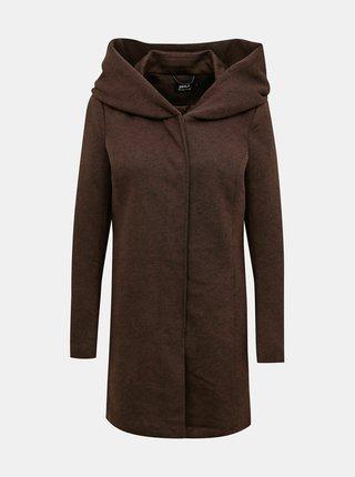 Tmavě hnědý kabát s kapucí ONLY Sedona