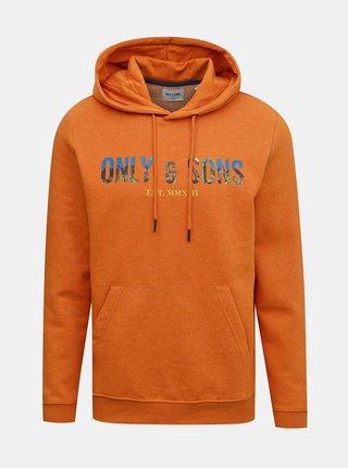 Oranžová mikina s kapucou ONLY & SONS Mava