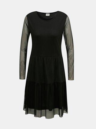 Čierne šaty s priesvitnými rukávmi Jacqueline de Yong Dixie