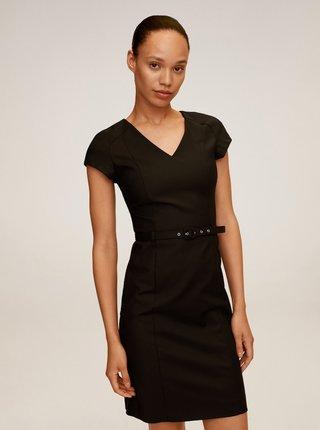 Černé pouzdrové šaty s páskem Mango