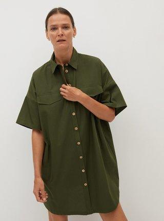 Khaki volné košilové šaty Mango