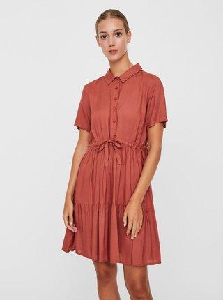 Cihlové košilové šaty VERO MODA Dolca