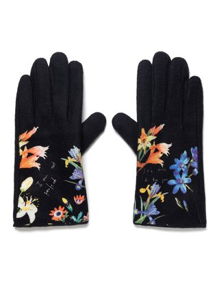Desigual černé rukavice Gloves Flowerish