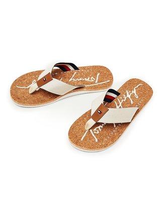 Tommy Hilfiger béžové pánské žabky Signature Cork Beach Sandal Sugarcane