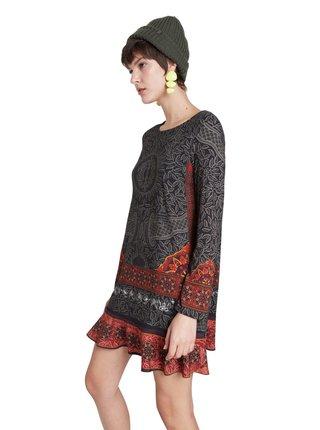 Desigual černé šaty Vest Nagoya s barevnými motivy