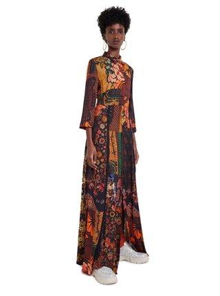 Desigual barevné maxi šaty Vest Turin