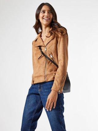 Hnedá bunda v semišovej úprave Dorothy Perkins