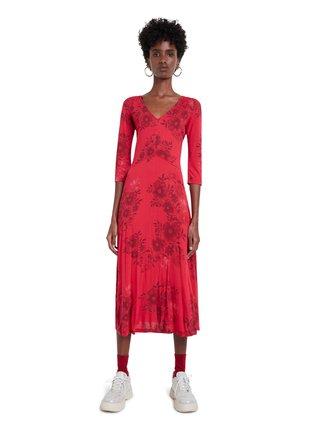 Desigual červené šaty Vest Yess