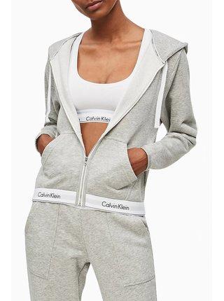 Calvin Klein šedá dámská mikina Top Hoddie Full Zip Basic