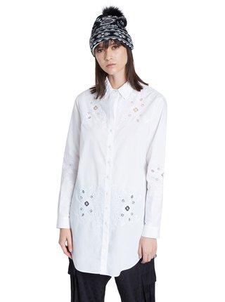 Desigual bílá dlouhá košile Cam Garona